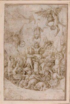 Damnés tourmentés par des diables et des animaux fantastiques ~ Attribué à Pieter Bruegel I