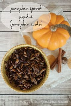 Learn how to make Pumpkin Spiced Pepitas (pumpkin seeds)! Grain-free, Gluten-free, Nut-free   This is so good...