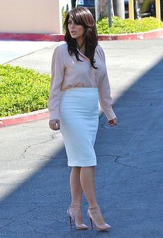 Wear plastic stiletto shoes with the most unforgiving pencil skirt you can find. | 20 Groundbreaking Maternity Style Rules From Kim Kardashian