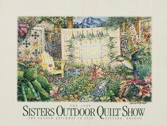 """1998 """"McGregor's Garden""""  Sisters Outdoor Quilt Show poster by Dennis McGregor"""