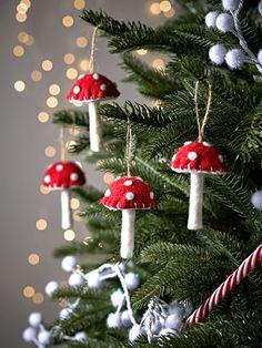 Three Hanging Felt Mushrooms - Christmas