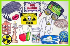 Halloween Frankenstein inspired mad scientist photo booth props - perfect for your Halloween bash or scary Frankenstein's bride themed party Halloween Photo Booth Props, Halloween Photos, Creepy Halloween, Halloween Signs, Happy Halloween, Halloween Party, Mad Scientist Halloween, Computer Theme, Scary Photos
