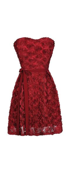 Every Rose Strapless Dimensional Rosette Dress in Burgundy www.lilyboutique.com