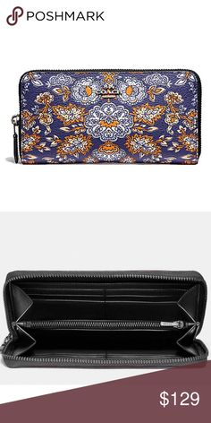 Coach Forest Flower Print Accordion Zip Wallet NWT Coach Forest Flower Print Coated Canvas Accordion Zip Around Wallet New With Tags, Beautiful Fresh Floral Design In Silver, Blue & Orange Multicolors, 12 Credit Card Slots, Full Length Bill Compartments, Zip Coin Pocket, Zip Around Closure, Silver Tone Hardware, Fits All Cell Phone Sizes Up To iPhone 7 Plus & Samsung Edge, See Matching City Tote In My Closet Coach Bags Wallets