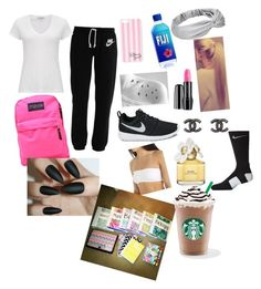 """""""school"""" by daniellewada ❤ liked on Polyvore featuring NIKE, James Perse, JanSport, Victoria's Secret, Lancôme, Chanel, Marc Jacobs, women's clothing, women and female"""