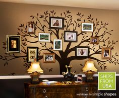 Love this! A little pricey, maybe I would try to paint it myself! Family Tree Decal - Photo Tree Decal - Family Tree Wall Decal. $150.00, via Etsy.