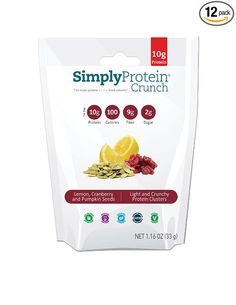 SimplyProtein Crunch, Lemon Cranberry and Pumpkin Seeds, protein clusters (affiliate link)