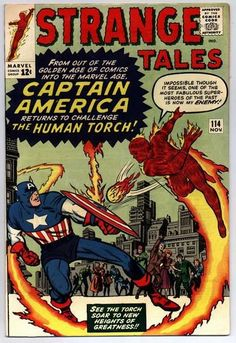 """1963 Alley Award, Favorite Short Story - """"The Human Torch Meets Captain America,"""", by Stan Lee & Jack Kirby, Strange Tales (Marvel Comics) Marvel Comics Superheroes, Marvel Comic Books, Comic Book Characters, Marvel Characters, Comic Books Art, Comic Art, Marvel Vs, Captain America Comic, Strange Tales"""