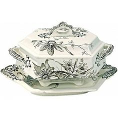 Antique Orchid Transferware Tureen