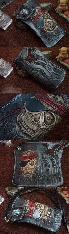 Handmade black leather punk skull carved biker chain wallet Long walle | EverHandmade