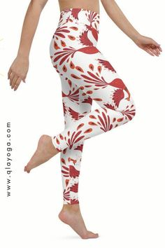 Red and White Phoenix Yoga Leggings, Rising Leggings, Yoga Pants, Active Wear, Workout Tights, Gym Pants for Festival Running Jogging Gym Pants, Gym Leggings, Yoga Pants, Body Sculpting, Yoga Session, Festival Outfits, Jogging, Phoenix, What To Wear