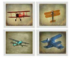 Vintage Airplane Art Print Set - SALE 25% OFF Nursery Boys Room Red Aqua Blue Gray Biplane Flying Aviation Home Decor Photograph