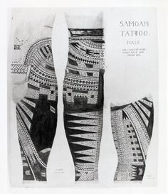 """Drawing; three views of a section of Tafao's leg, from the front, back and side, showing tattoos. May 1949. Pigment ink and watercolour."""