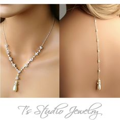 Pearl and Cubic Zirconia Back Drop Lariat Bridal Necklace - from T's Studio Jewelry