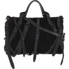 Alexander Wang Kirsten Satchel -Exaggerrated buckle embellishment -leather on suede creates a chic and edgy look -BUCKLES are getting big both on shoes and satchels