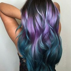purple and blue ombre hairYou can find Mermaid hair and more on our website.purple and blue ombre hair Hair Dye Colors, Ombre Hair Color, Blue Ombre, Purple Haze, Ombre Hair Rainbow, Wild Hair Colors, Hair Colour, Hair Color And Cut, Cool Hair Color