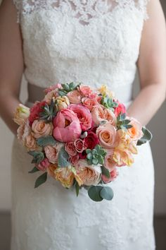 Bouquet of peonies, parrot tulips, succulents, lambs ear, eucalyptus, garden roses, spray roses and roses, by Southern Event Planners, Memphis weddings, flowers, photo by Rob Lyons