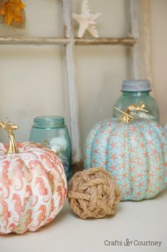 Orange is a lovely color, but I don't use it often... I was going to paint my pumpkins silver & gold until I saw this... I'm completely charmed! House of Turquoise: Crafts by Courtney