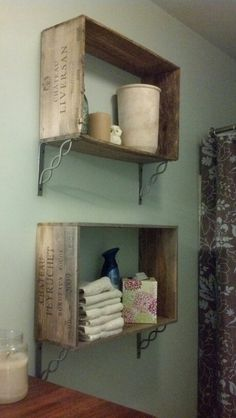 Wine crate shelves in our bathroom.