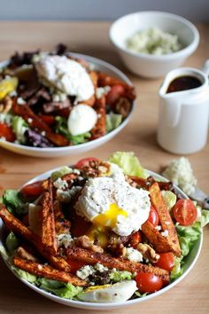 Salad Recipes : Steak and French Fry Salad with Blue Cheese Butter + Poached Eggs
