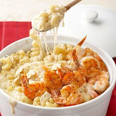 For an irresistible mash-up meal, try this baked mac and cheese that tastes just like fondue! Kids will adore the ooey-gooey Swiss and gruyere, while parents will go wild for the tender shrimp on this mac and cheese casserole.