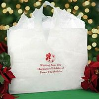 Large poly frosted christmas gift bag in clear bag color, personalized with ruby satin imprint color, CMS74 Christmas design and Caslon lettering style #SolutionsPinIt