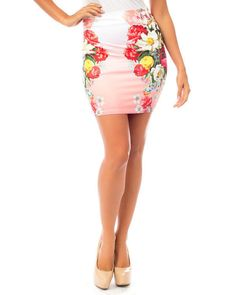 Sexy Colorful Flower Blossom BODYCON Sublimation Beach Resort FITTED Mini Skirt #SSclothing #StraightPencil