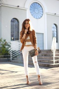 White and camel outfit. Wearing Gap white denim and striped sweater with a camel jacket from Shoulder. Leopard printed clutch for a mix of prints.