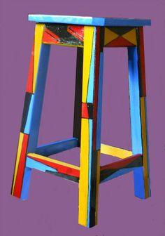 BANCO, lado B,  intervenido con abstracción geometrica, sintético sobre madera, 30x50 cm,  feb 2012 - VENDIDO -