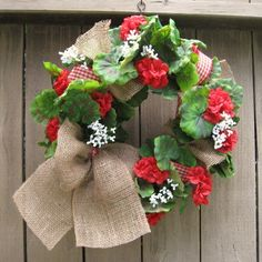 Red Geranium Wreath with Burlap Bow by AWorkofHeartSA