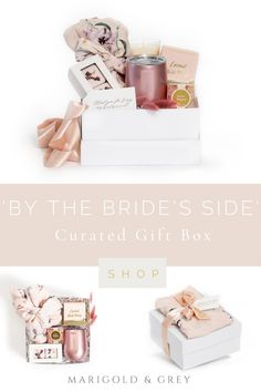 A lovely pink Plum Pretty Sugar robe anchors our signature 'By the Bride's Side' gift box along with several other luxury items intended for relaxing prior to getting ready for the wedding weekend! You can even personalize the Swig-brand tumbler and/or gift tags to reflect each bridesmaid's first name for that added personal touch! (Minimum of 4 gifts required for personalization.)