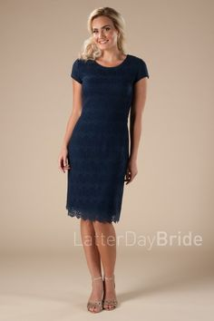 modest dresses for bridesmaids in navy with lace, the Carter, knee length