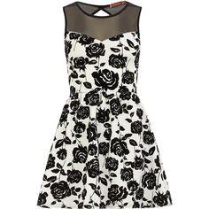 White floral skater dress ($49) ❤ liked on Polyvore