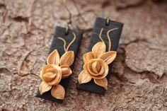 Black gold earrings rose earrings christmas gift  for her