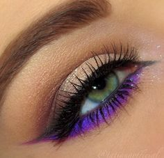 Neutral smokey eye makeup with bright purple #eye #eyes #makeup #eyeshadow #dramatic #smokey