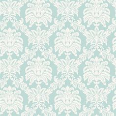 Blue Mountain Small Damask Aqua Strippable Non-Woven Prepasted Wallpaper  Prepasted -requires no additional adhesives or activatorsWashable - can be