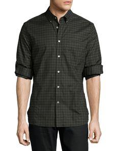 Check Button-Down Shirt, Green Pattern, Women's, Size: MEDIUM - John Varvatos Star USA