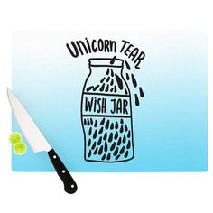 KESS InHouse Unicorn Wish Jar Cutting Board Size: 1