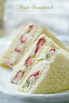 elephants and the coconut trees - - Fruit Sandwich is inspired by the popular Japanese snack.If you are tired of. Tea Party Sandwiches, Finger Sandwiches, Sandwich Croque Monsieur, Fruit Sandwich, Tea Sandwich Recipes, Afternoon Tea Recipes, Le Diner, Tea Cakes, Food Blogs