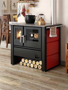 O fogão a lenha LIV804 aquece ambientes com até 245m³. Com a tecnologia da dupla combustão, o fogão a lenha LIV tem alta potência calorífica, o que proporciona um cozimento perfeito aos alimentos, além de aquecer o ambiente. Obs.: Cor vermelha mudou a tonalidade. Decor, Furniture, Kitchen Marble Top, Cottage, House, Cabinet, Kitchen Decor, Home Decor, Kitchen