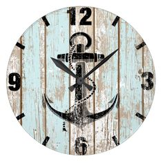 Shop Vintage Nautical Anchor Stripes Wood Large Clock created by WatchMinion. Vintage Nautical Decor, Nautical Clocks, Nautical Theme Decor, Rustic Wall Clocks, Nautical Bedroom, Nautical Design, Wood Clocks, Nautical Home, Nautical Anchor