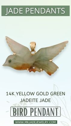 Green and red Jade carved bird in flight pendant. This beautifully carved bird is prong set and has a14k yellow gold frame and bail. Use discount code INSTA10JORDAN at checkout! Pendant Jewelry, Jade, Pendants, Gold, Hang Tags, Pendant, Charms, Yellow