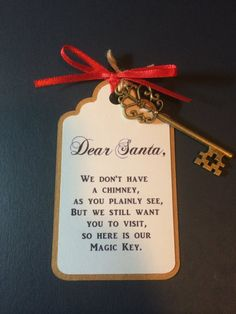 No Chimney, no problem! This extra special Magic Key for Santa will make sure he can put your presents under the tree without worrying about making his way down the chimney. Homemade Christmas, Diy Christmas Gifts, All Things Christmas, Christmas Holidays, Christmas Decorations, Christmas Ornaments, Etsy Christmas, Santa Gifts, Homemade Ornaments