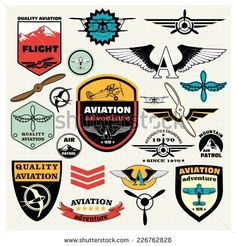 Mega Set of retro emblems, design elements , badges and logo patches on the theme aviation - stock vector