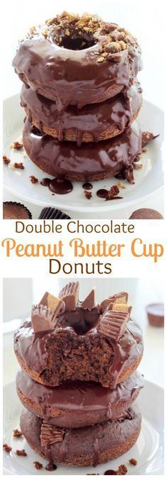 Double Chocolate Peanut Butter Cup Donuts - A MUST pin and make for chocolate peanut butter fans! Trust me - you won't be sorry!