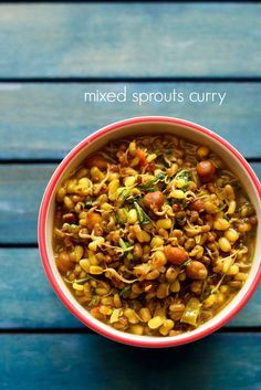 mixed sprouts curry - simple curry made with mixed sprouts. nutritious side dish with chapatis.