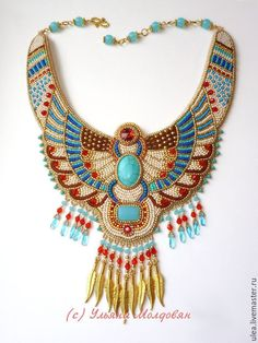 Купить Колье из бисера Египетская амазонка - золотой, бежевый, кремовый…