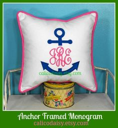 Anchor Monogram Embroidered Pillow Cover   14 x 14 by calicodaisy, $45.00