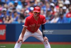 Josh Donaldson #20 of the Toronto Blue Jays leads off first base in the fifth inning during MLB game action against the Houston Astros at Rogers Centre on July 9, 2017 in Toronto, Canada.