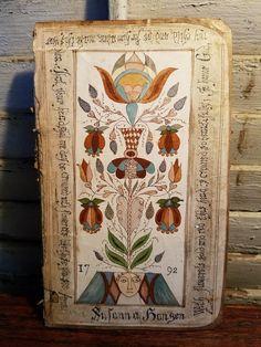 Primitive FoLk ArT Fraktur German Type Ink Painting Antique Book Back Tulip   eBay #antiquebooks